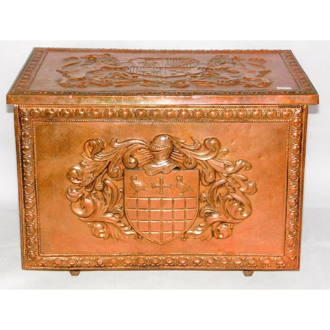 Vintage Copper Armorial Log Box.