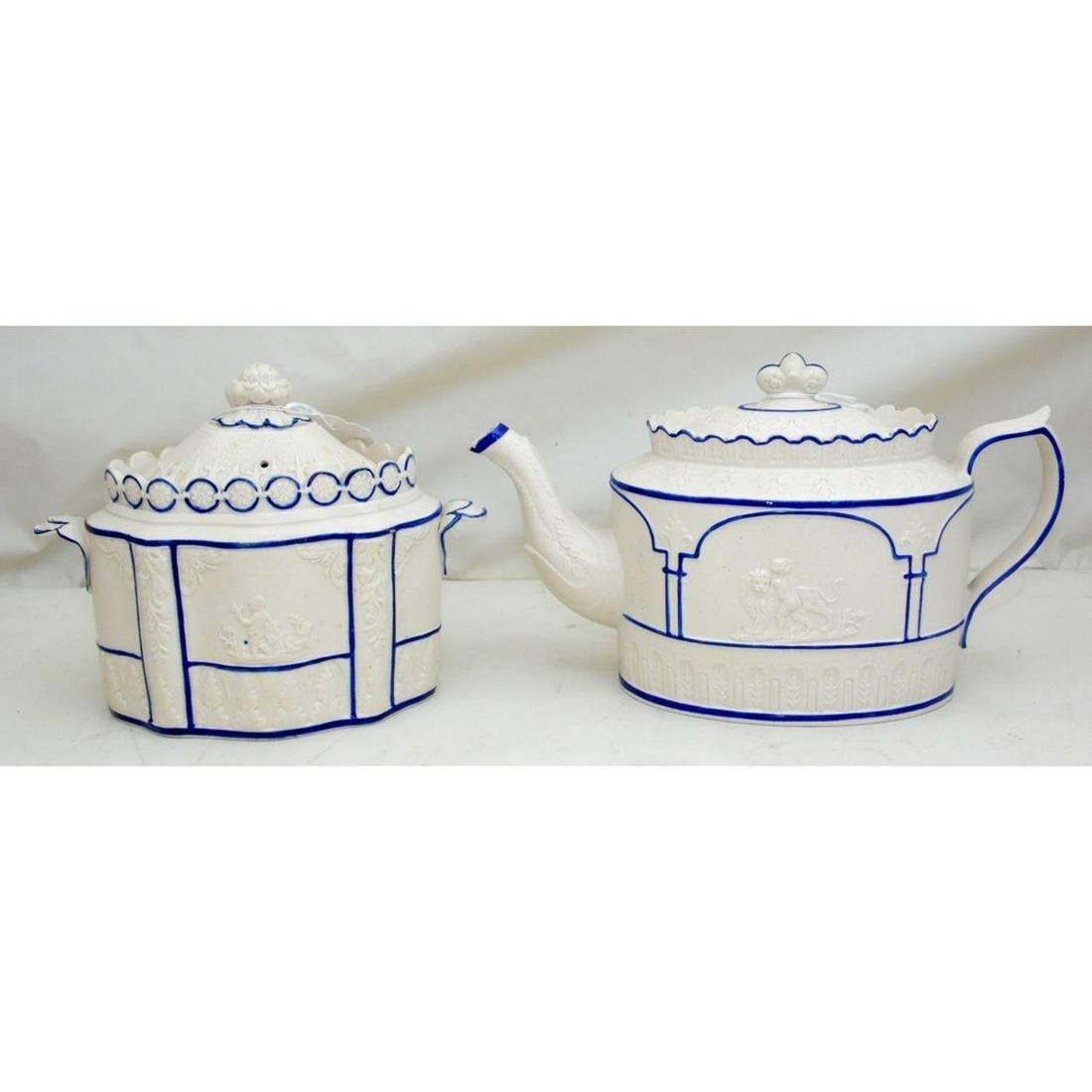 Scarce Geo.Castleford Pottery Teapot & Sugar Bowl