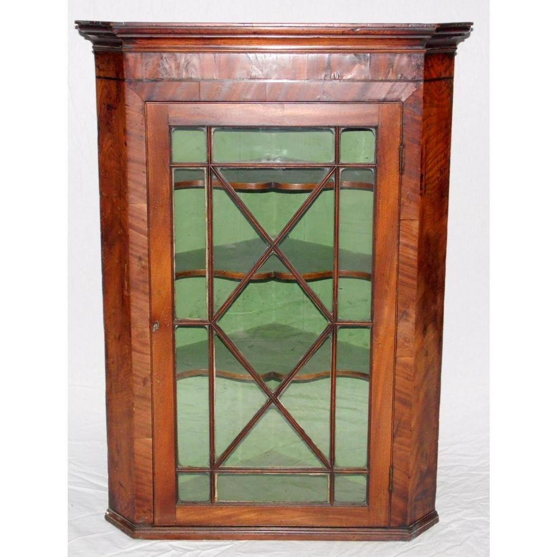 Georgian Mahogany Astral Glazed Corner Cabinet