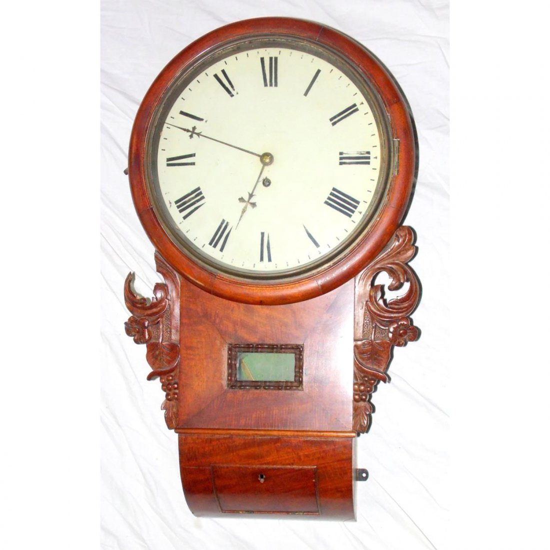 Victorian Carved Walnut Drop Dial Wall Clock.