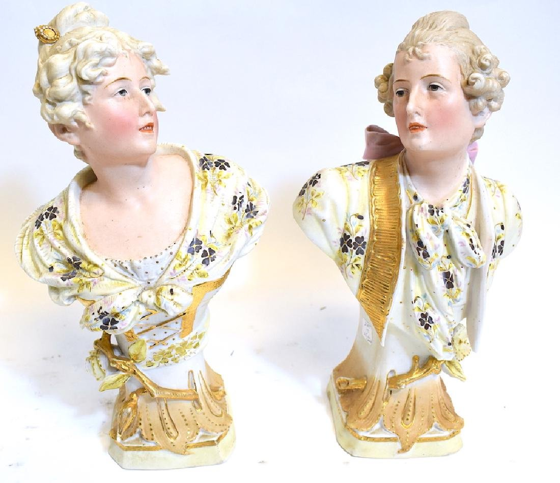 Pr. of ca. 1900  French bisque busts of man and woman