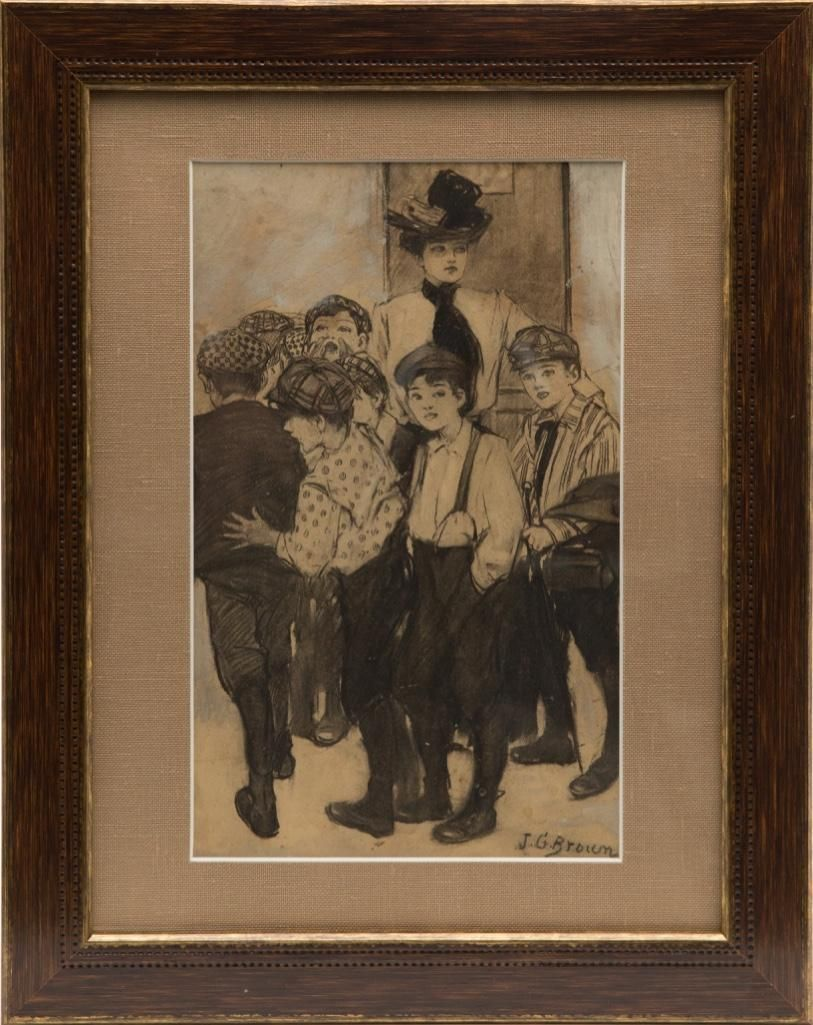 John George Brown signed charcoal and ink drawing