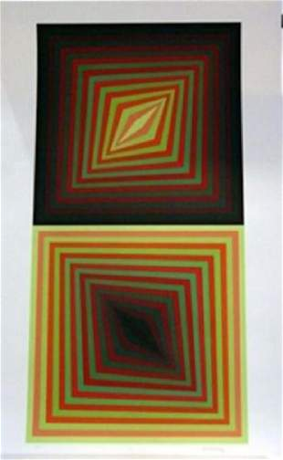 Vasarely Usteok Hand Signed Numbered Serigraph