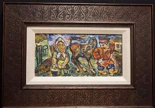 David Davidovich Burliuk Cosack, Woman & Horse Oil on