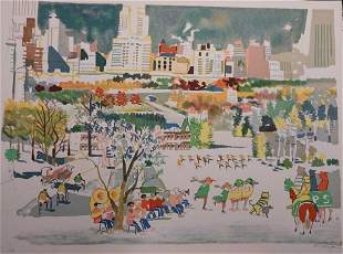 Dong Kingman Skaters Hand Signed Numbered Lithograph