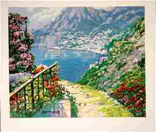 349: Howard Behrens Road To Positano Serigraph HS/N