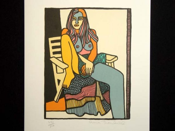 460: Anna Thornhill Serigraph Seated Nude Hand Signed