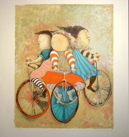 463: G. R. Boulanger Three Cyclist Litho. Hand S/N