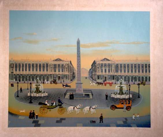 465: Michel Delacroix Place de Hand S/N litho.