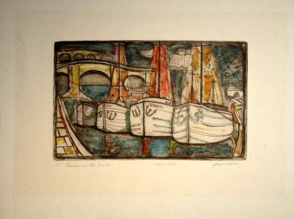 467: Irving Amen Etching Barges On The Seine Hand S/N