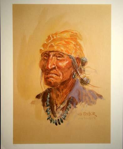469: Joe Beeler Old Indian Litho. Hand Signed #