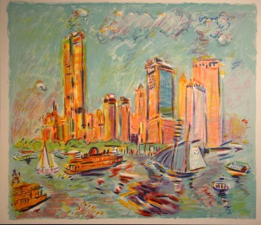 473: Wayne Ensrud New York Harbor Scene  HS/N