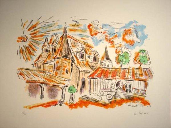 475: Wayne Ensrud Chateau Haut Brion Lithograph HS/N