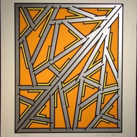 476: Nicolas Krushenik Untitled Serigraph Orange HS/N