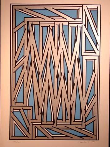 477: Nicolas Krushenik Untitled Serigraph Blue  HS/N