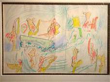 558 Roberto Matta Original Color Drawing 1984 W COA