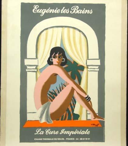 657: Villemot Poster Uegenie Les Bains Deco Linen Backe