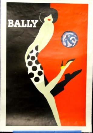 658: Villemot Poster Bally Shoes  Deco Linen Backed