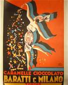 662 Baratti  Milano Vintage Poster Pluto 1930s Linen