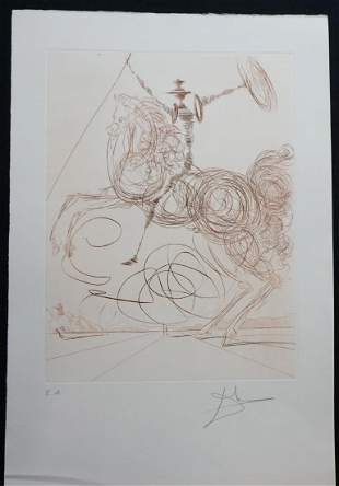 Dali The Horseman Hand Signed Etching