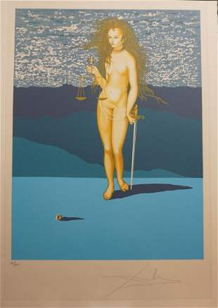 Dali Goddess of Justice Hand Signed Lithograph