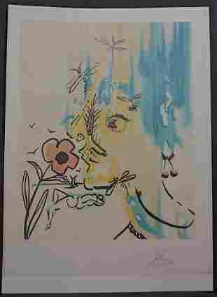 Dali Fleurs Surrealiste Vanishing Face Hand Signed
