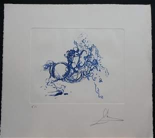 Dali Jinete Ultramarine Hand Signed Etching Dali