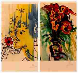 Salvador Dali Fleurs Surréalistes Suite 2 Pieces