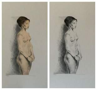 Raphael Soyer Nude Woman Portfolio Suite of 2