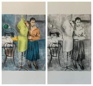Raphael Soyer Seamstress 1 Portfolio Suite of 2