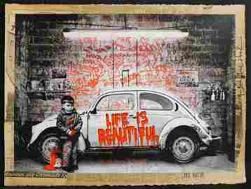 Mr. Brainwash VW Beetle Red Mixed Media Unique 1/1