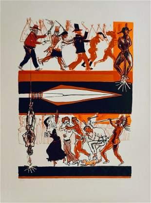 Warrington Colescott A Wild West: Cowboys and Indians
