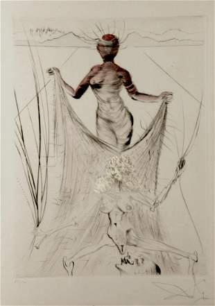 Salvador Dali La Venus aux Fourrures Woman Holding Veil