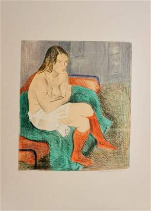 Raphael Soyer Woman Red Stockings Color