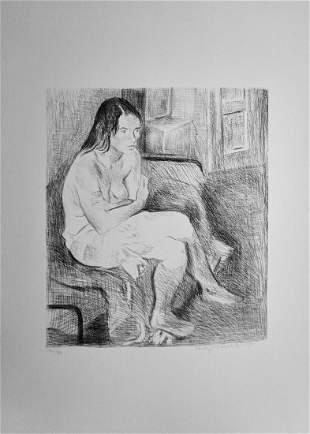 Raphael Soyer Woman Red Stockings Black & White