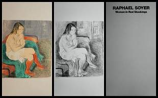Raphael Soyer Woman in Red Stockings Portfolio Suite