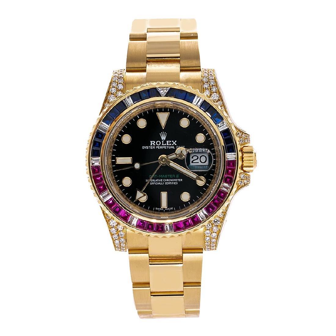 18K YELLOW GOLD ROLEX GMT MASTER II 116718 40MM BLACK