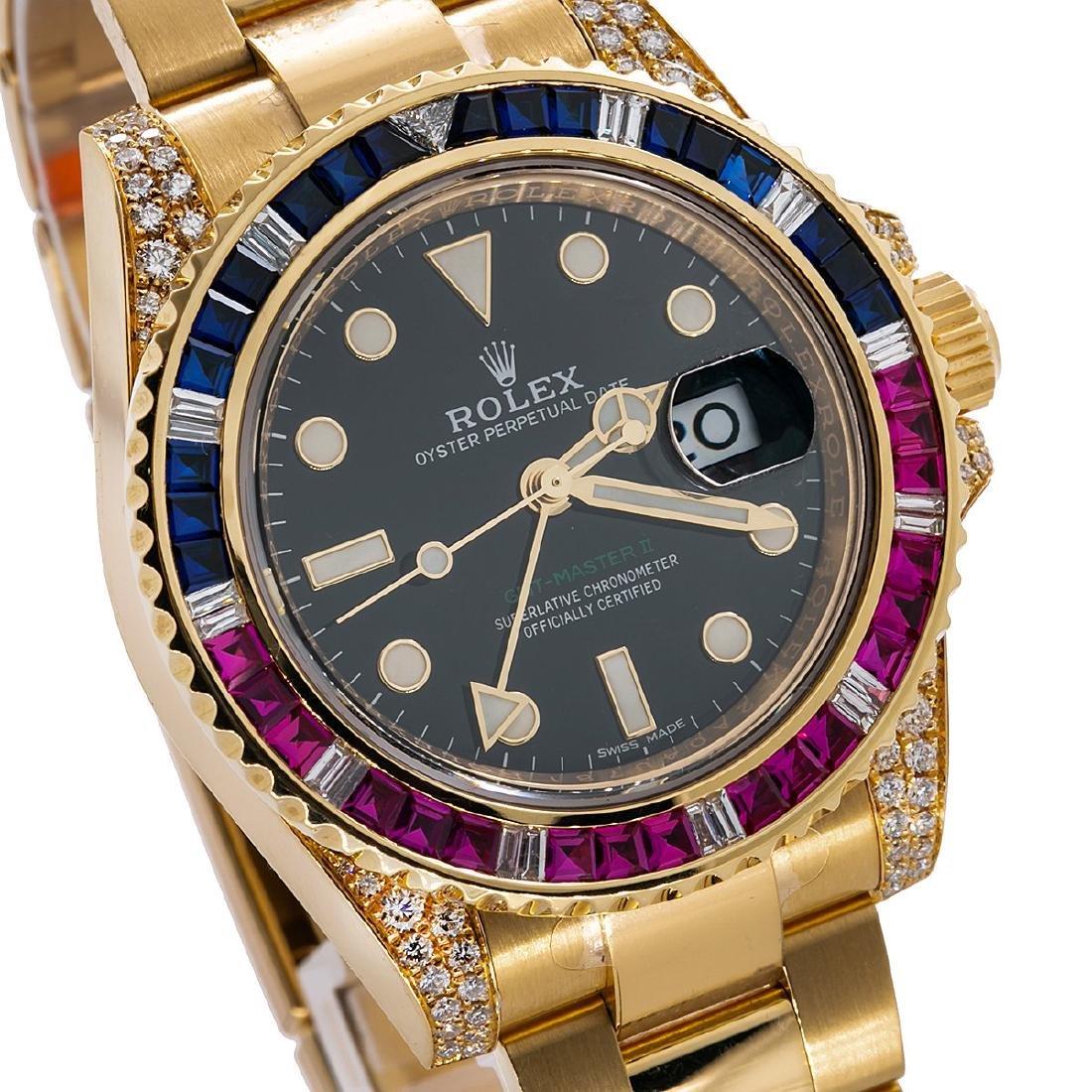 18K YELLOW GOLD ROLEX GMT MASTER II 116718 40MM BLACK - 2