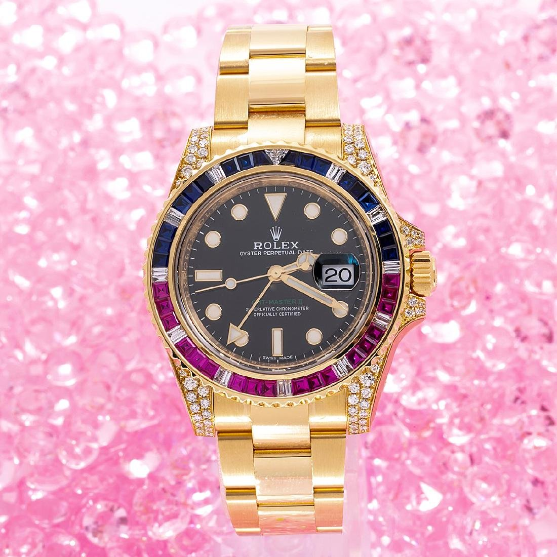 18K YELLOW GOLD ROLEX GMT MASTER II 116718 40MM BLACK - 5