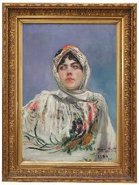 """JUAN LUNA Y NOVICIO (1857-1899). """"YOUNG GIRL IN MANILA"""