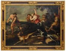 """VINCENT MALO (1606/1607-1650). """"ATALANTA Y MELEAGRO"""