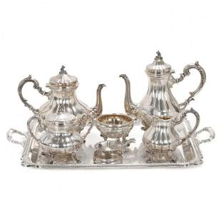PERUVIAN SILVER TEA AND COFFEE SET, SECOND HALF OF THE