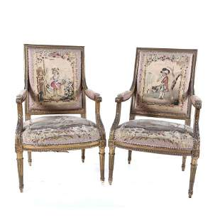 PAIR OF FRENCH LOUIS XVI STYLE ARMCHAIRS, SECOND HALF
