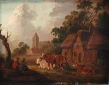"19TH CENTURY DUTCH SCHOOL. ""LANDSCAPE WITH COWS""."