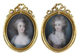 "FRENCH SCHOOL, 18TH CENTURY. ""PORTRAITS OF LADIES""."