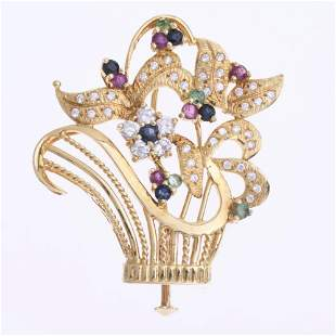 YELLOW GOLD AND GEMSTONES FLORAL BROOCH.