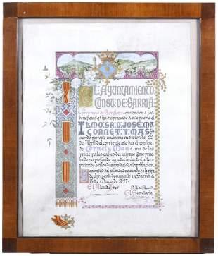 """FRANCESC FLOS (1859-1929). """"COMMEMORATIVE BORDER OF THE"""
