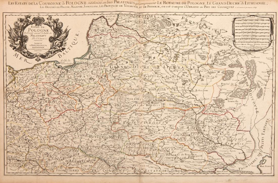 A Large Scale 17th Century Map of Poland and