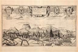 A 17th Century Bird's-eye View of Lviv in Ukraine,