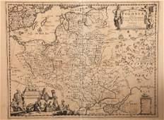 A 17th Century Map of Poland, lithuania, Ukraine,